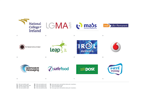 Joshue O Connor has worked as accessibility consultancy previously with: NCIrl, LGMA, MABS, Vodafone, An Post, IL&P, Safefood, Leap and more.